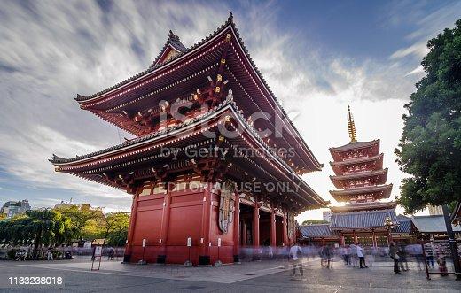 464620985 istock photo Asakusa temple with pagoda at night, Tokyo, Japan 1133238018