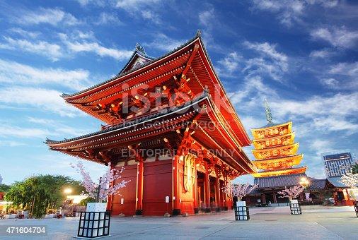 464620985 istock photo Asakusa temple with pagoda at night, Tokyo, Japan 471604704