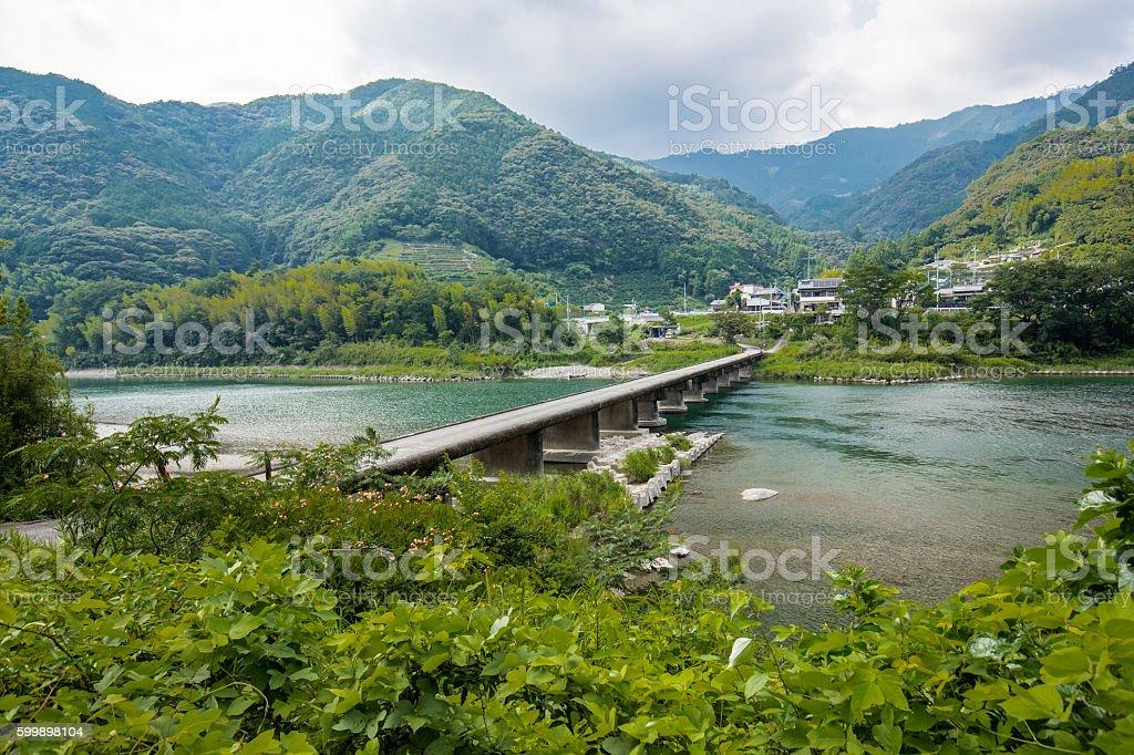 Asao Low Water Crossing (Kochi Prefecture) in Japan stock photo