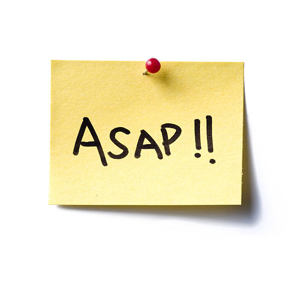 asap! post-it ASAP (as soon as possible)a yellow post-it note with the word 'asap!!' written in black marker pen. ASAP stock pictures, royalty-free photos & images