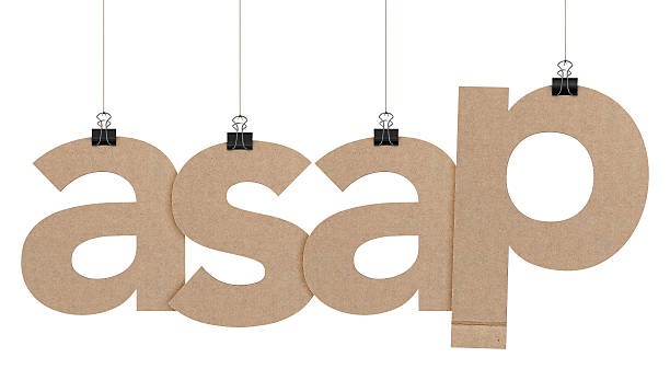 asap word hanging on strings A  3D representation of the word asap hanging on a plain white background. The word is hanging from binder paper clips that are attached to a piece of string. The letters have a cardboard texture. The background is pure white. ASAP stock pictures, royalty-free photos & images