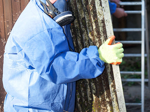 Amianto corrugato roofing foglio essere rimosso e con cuciture termosaldate - foto stock