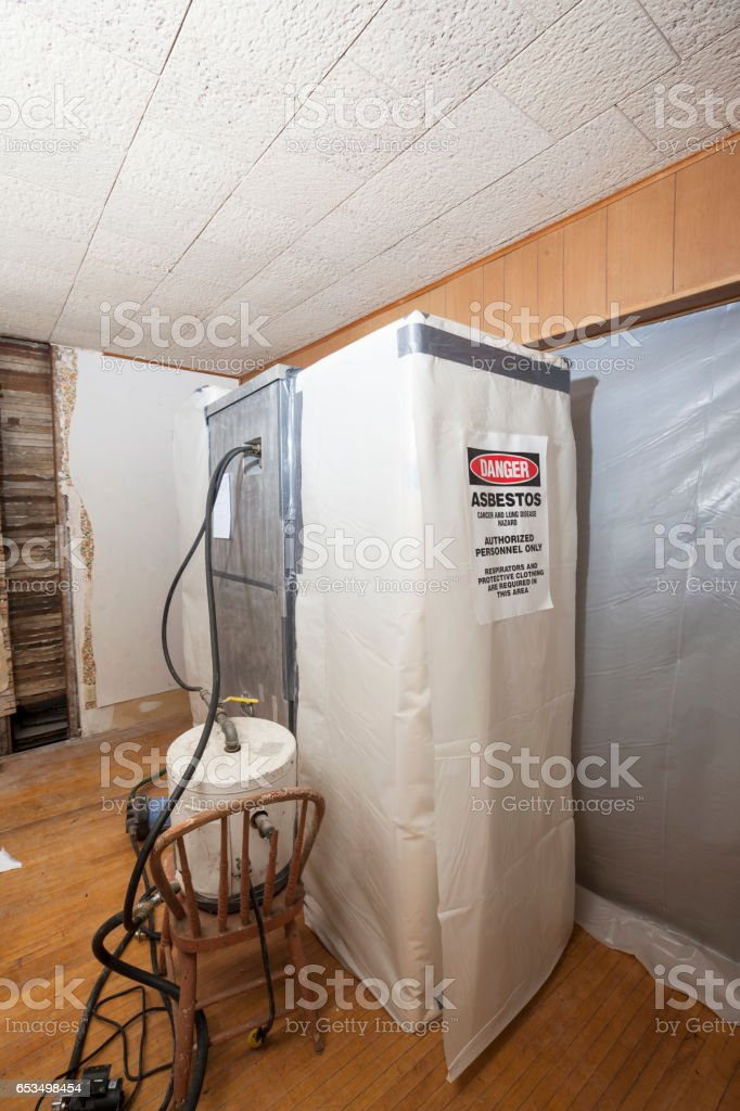 Asbestos Decontamination Chamber at a House Abatement Site stock photo