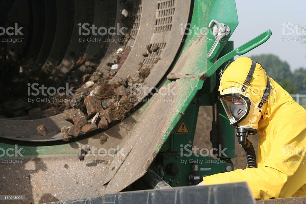 Asbestos in the soil stock photo