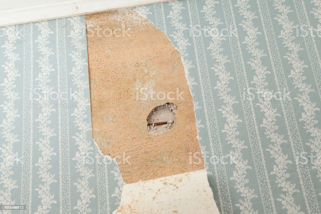 Asbestos Inspection Hole in an Older House Wall with Torn Wallpaper royalty-free stock photo