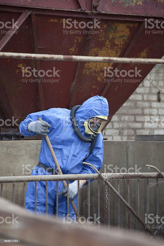Asbestos removal in progress stock photo