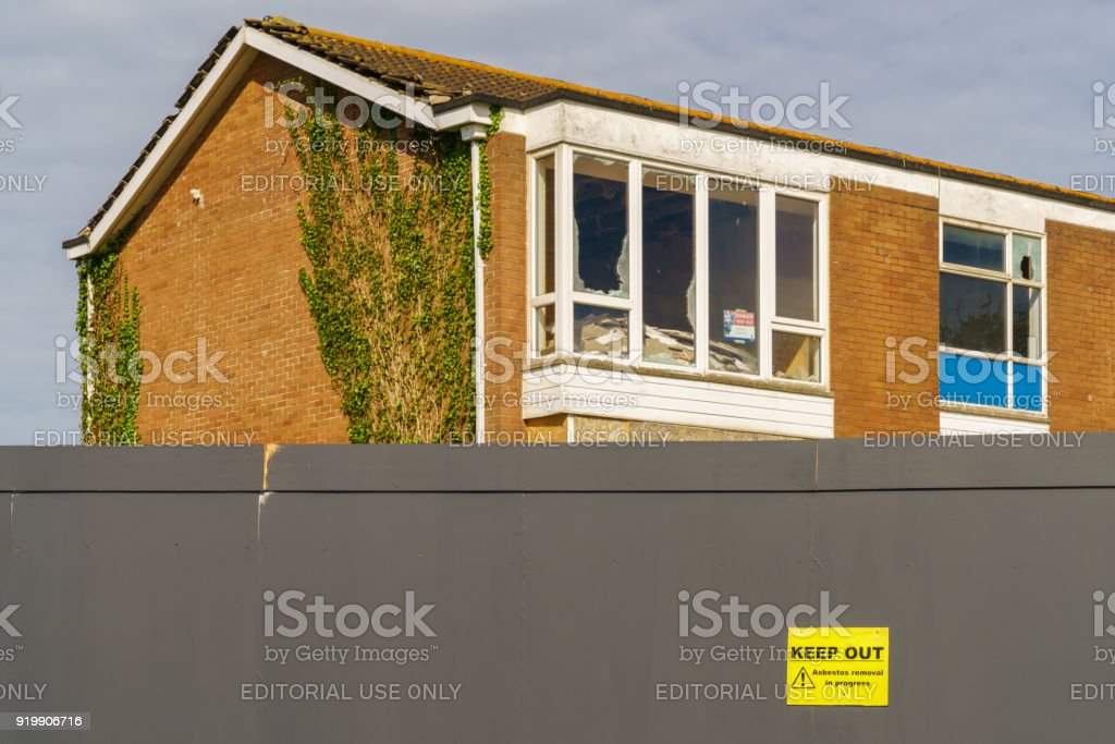 Asbestos removal in progress stock photo