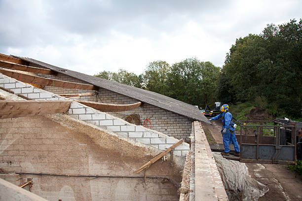 Asbestos removal on roof stock photo