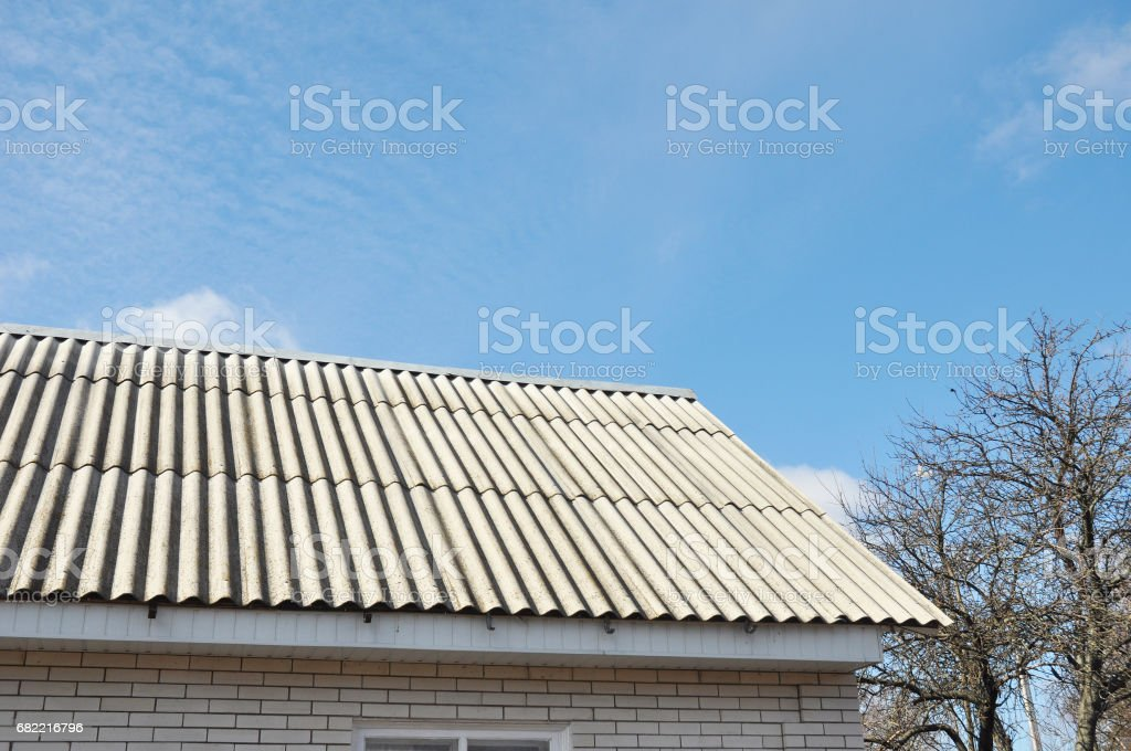Asbestos Roof. stock photo