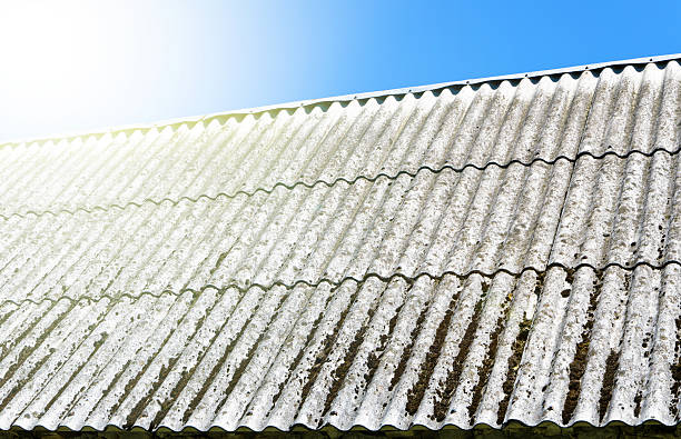 Asbestos roof with blue sky