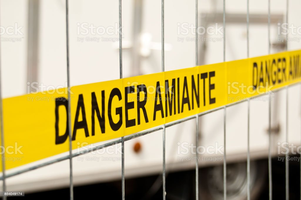 asbestos site sign stock photo
