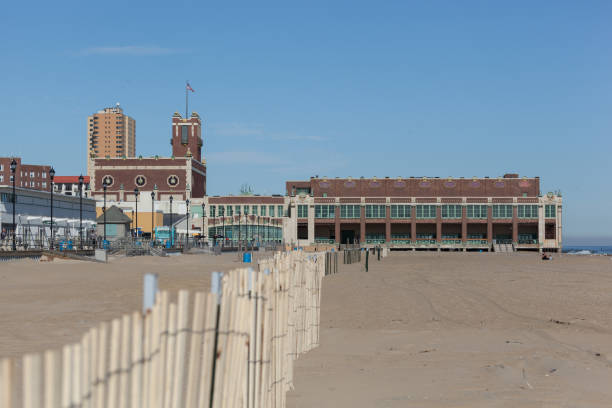 Asbury Park Beach with Convention Hall stock photo