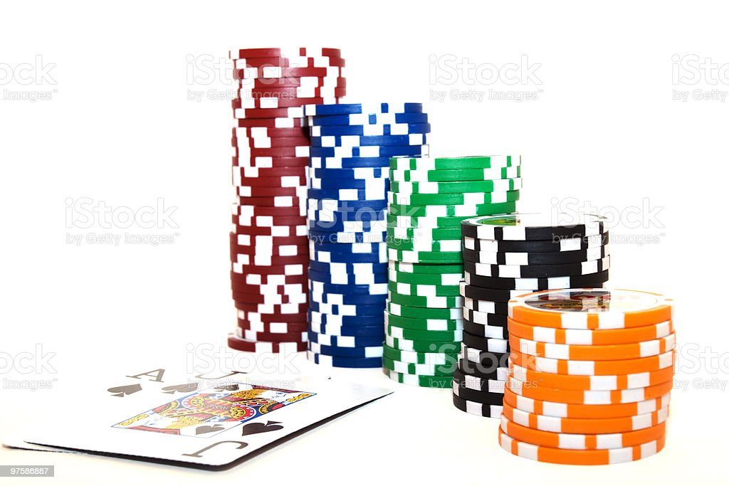 Ascending Or Descending Chips With Ace And Jack Playing Cards royalty-free stock photo