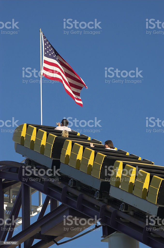Ascending rollercoaster stock photo
