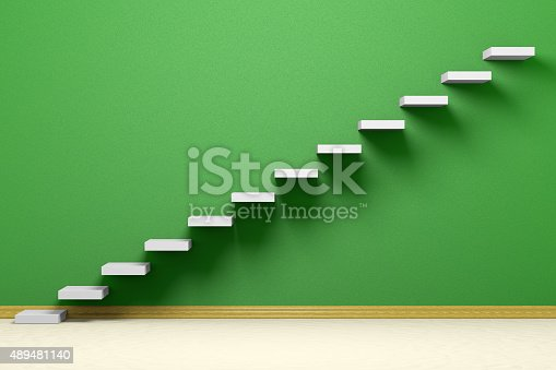 istock Ascending stairs of rising staircase in empty green room 489481140