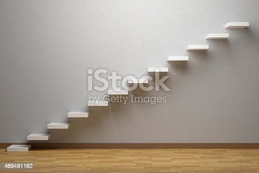 istock Ascending stairs of rising staircase in empty room with parquet 489481162