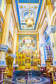 Interior of the landmark Ascension Cathedral (aka Zenkov Cathedral) in Almaty Kazakhstan