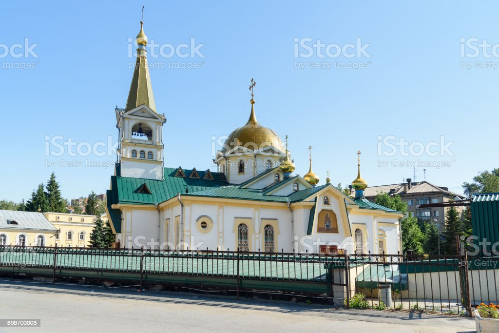 Ascension Cathedral in Novosibirsk, Russia stock photo