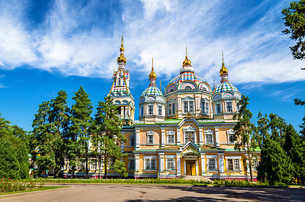 Ascension Cathedral in Panfilov Park of Almaty, Kazakhstan stock photo