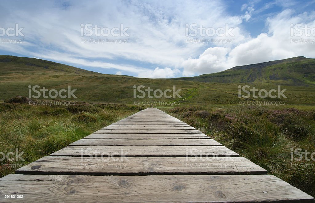 Ascent to Ingleborough Yorkshire Dales stock photo