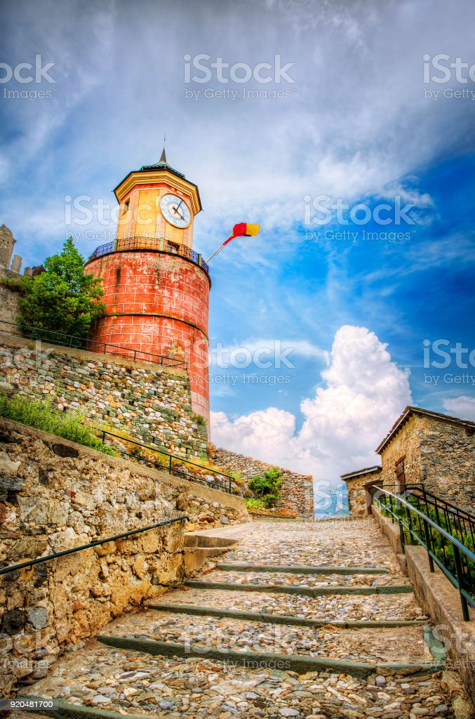 Ascent to the Clock Tower in Tende, Alpes-Maritimes, Provence, France stock photo