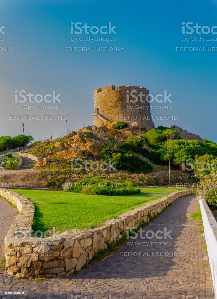 Ascent to the Tower of Longosardo (Santa Teresa di Gallura, Olbia-Tempio, Sardinia, Italy). stock photo