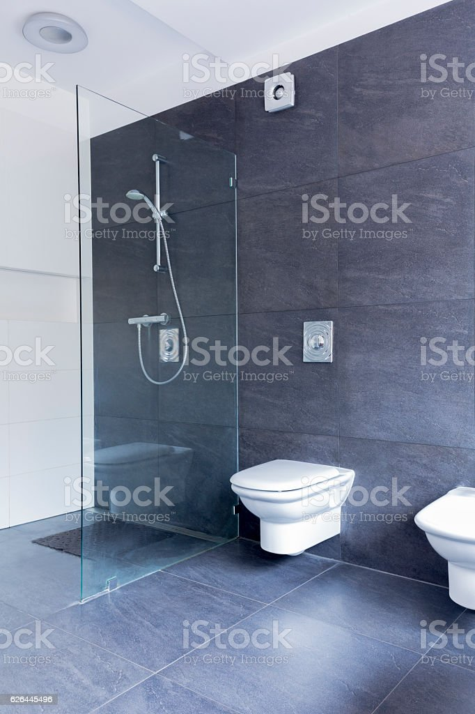 Ascetic bathroom combining glass and granite stock photo
