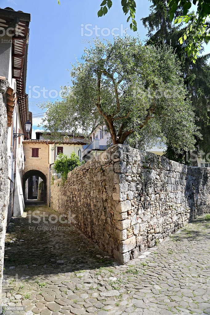 Ascoli Piceno, Marches, Italy - Old typical street stock photo