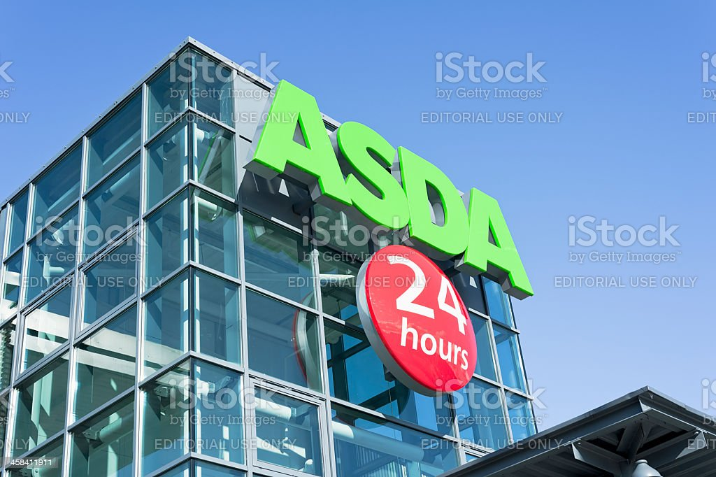 Asda 24 Hours Supermarket Entrance Sign stock photo