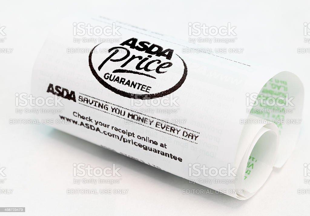 asda till receipt stock photo