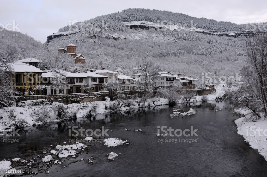 Asenov District and Yantra River in Winter stock photo