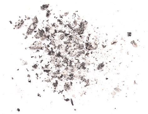 Cigarette ash isolated on white background