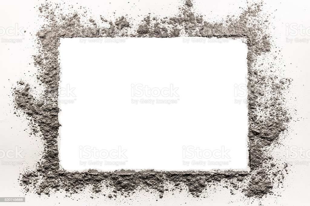 Ash, dirt, dust, sand frame on a white background stock photo