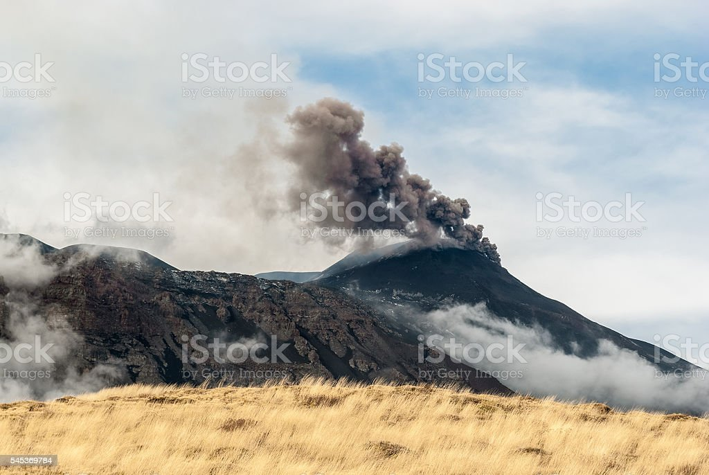 Ash emission from the South-East crater on volcano Etna stock photo