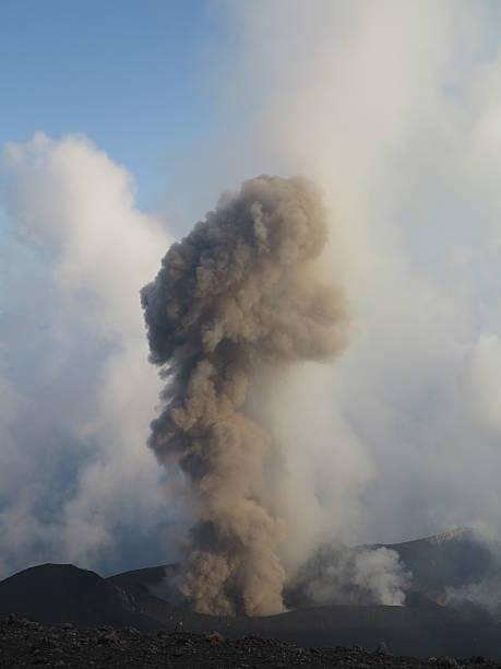 Ash eruption mount Stromboli stock photo