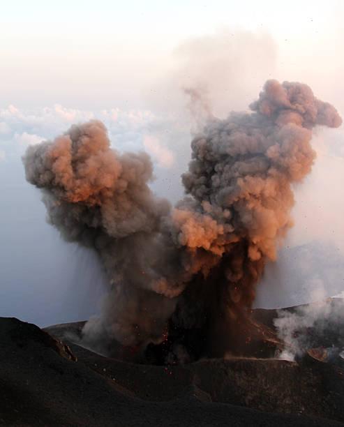 ASh eruption stock photo