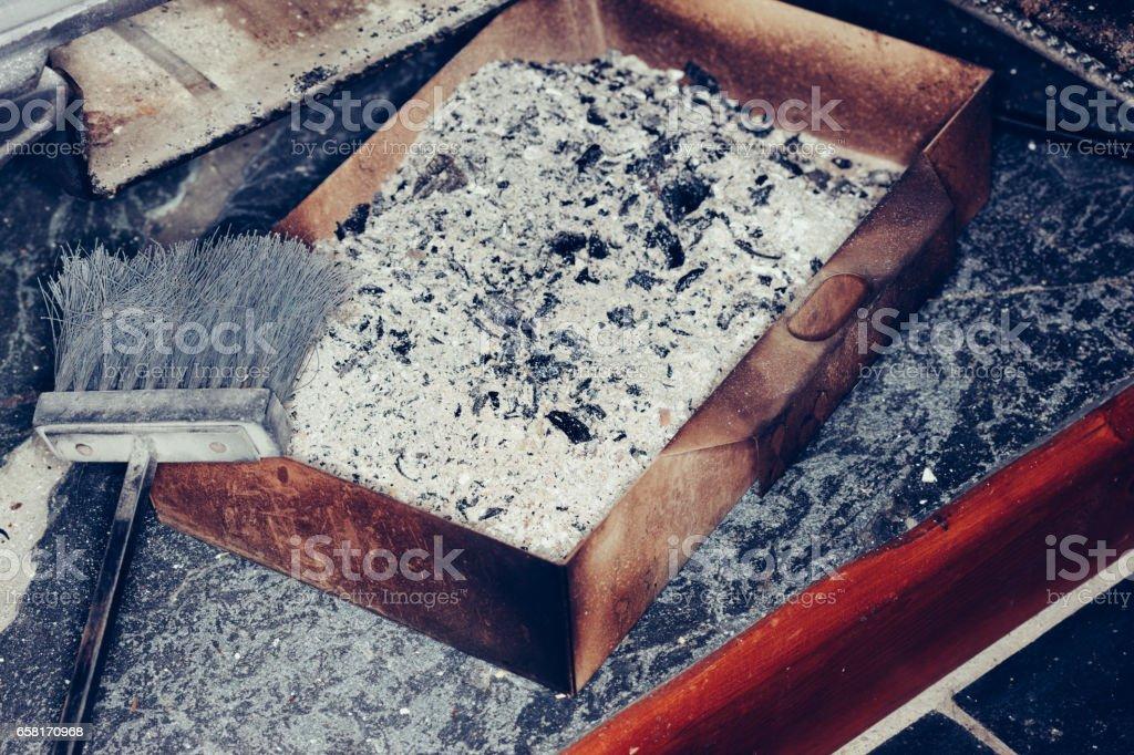 Ash pan and wood burning stove stock photo