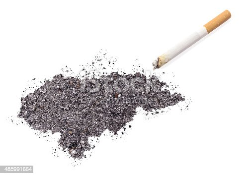 istock Ash shaped as Honduras and a cigarette.(series) 485991664
