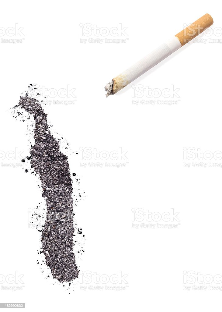 Ash shaped as Togo and a cigarette.(series) stock photo