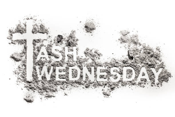 ash wednesday word written in ash, sand or dust - ash cross stock photos and pictures
