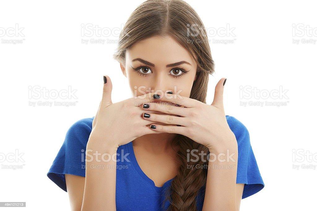 Ashamed woman stock photo