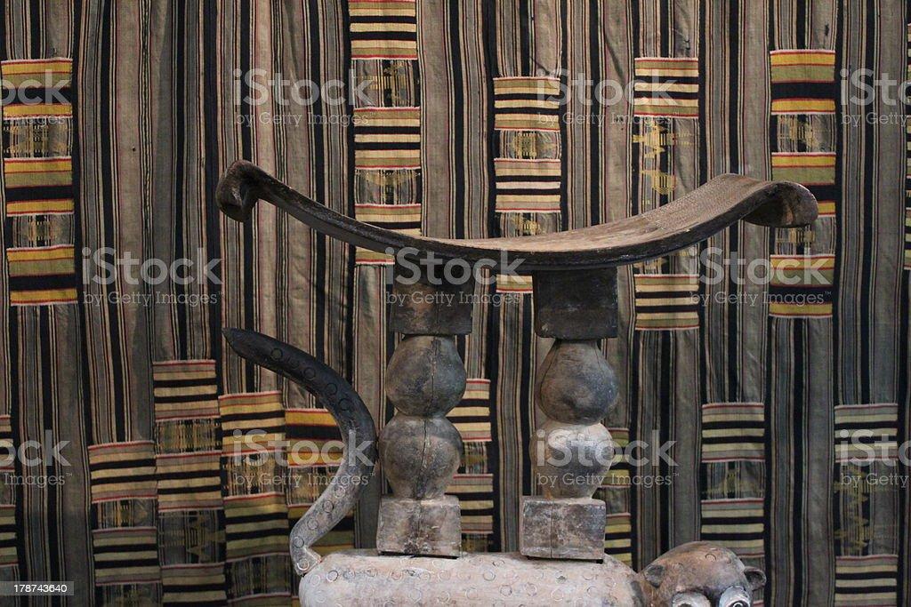 Ashanti Stool & Kente Weaving stock photo