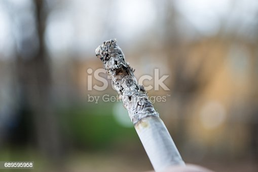 istock Ashes and smoke from a cigarette. 689595958