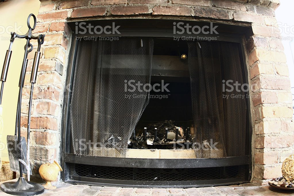 Ashes from a fireplace in Old Montreal - Fish-Eye Lense royalty-free stock photo