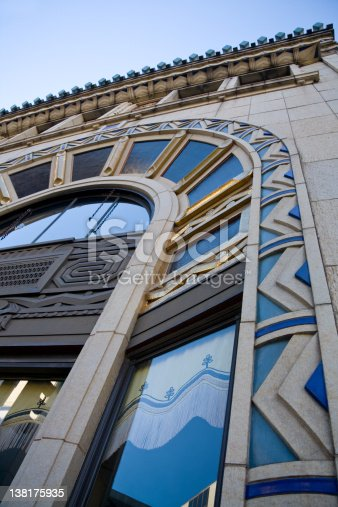 Detail of historic architecture in downtown Asheville, North Carolina