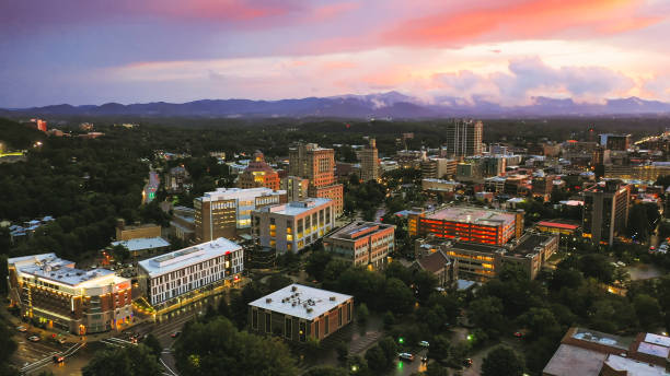 Asheville city downtown during sunset North Carolina Aerial view stock photo