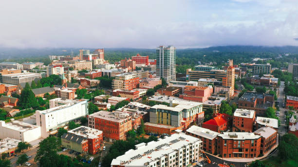 Asheville city downtown North Carolina Aerial view stock photo