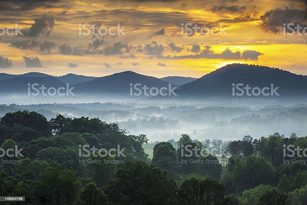 Asheville NC Blue Ridge Mountains Sunset and Fog Landscape Photography stock photo