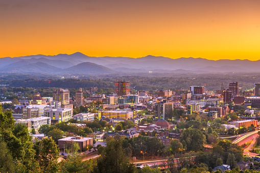 Asheville North Caroilna Usa Skyline Stock Photo - Download Image Now