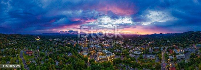 Asheville North Carolina Aerial view at sunset